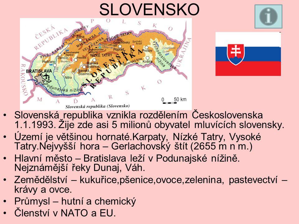 SLOVENSKO Slovenská republika vznikla rozdělením Československa 1.1.1993.