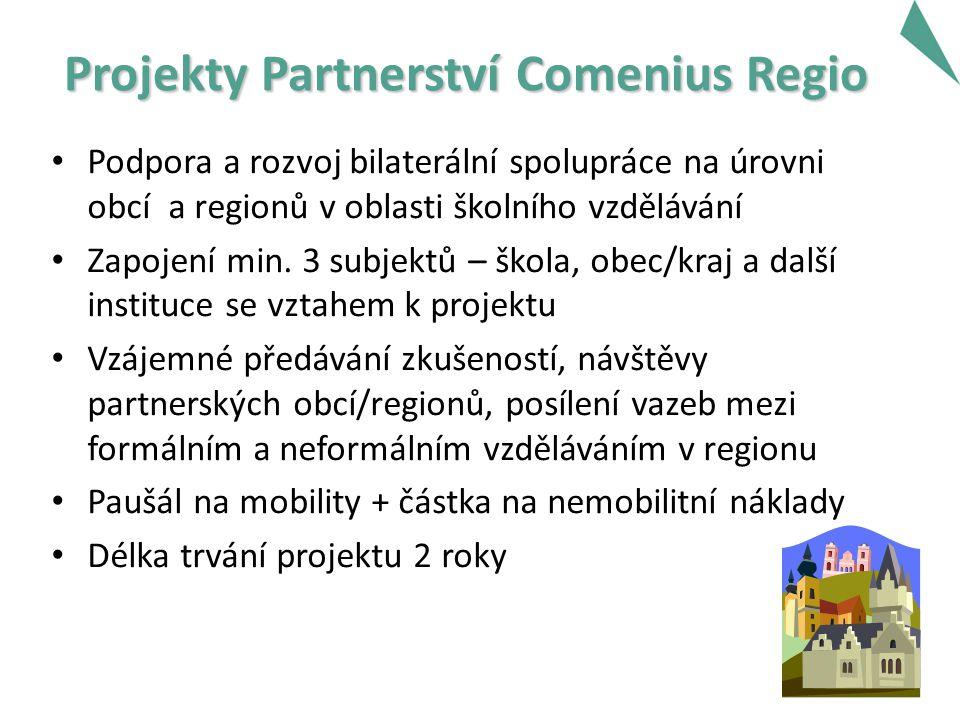 Projekty Partnerství Comenius Regio Podpora a rozvoj bilaterální spolupráce na úrovni obcí a regionů v oblasti školního vzdělávání Zapojení min.