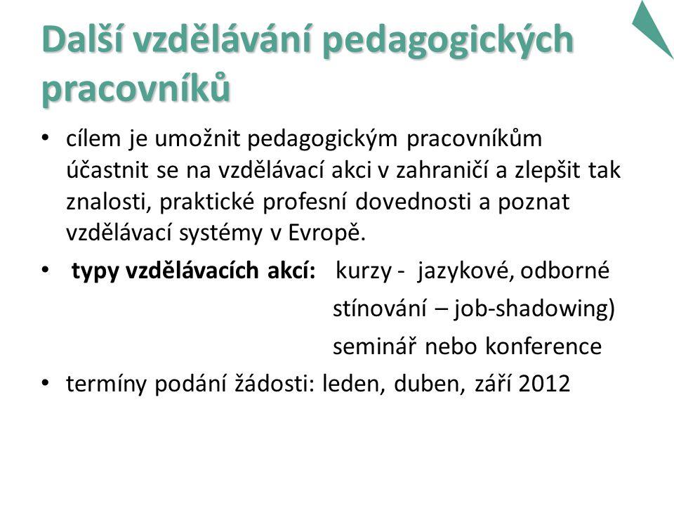 Další vzdělávání pedagogických pracovníků cílem je umožnit pedagogickým pracovníkům účastnit se na vzdělávací akci v zahraničí a zlepšit tak znalosti, praktické profesní dovednosti a poznat vzdělávací systémy v Evropě.