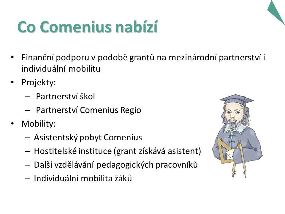 Co Comenius nabízí Finanční podporu v podobě grantů na mezinárodní partnerství i individuální mobilitu Projekty: – Partnerství škol – Partnerství Comenius Regio Mobility: – Asistentský pobyt Comenius – Hostitelské instituce (grant získává asistent) – Další vzdělávání pedagogických pracovníků – Individuální mobilita žáků