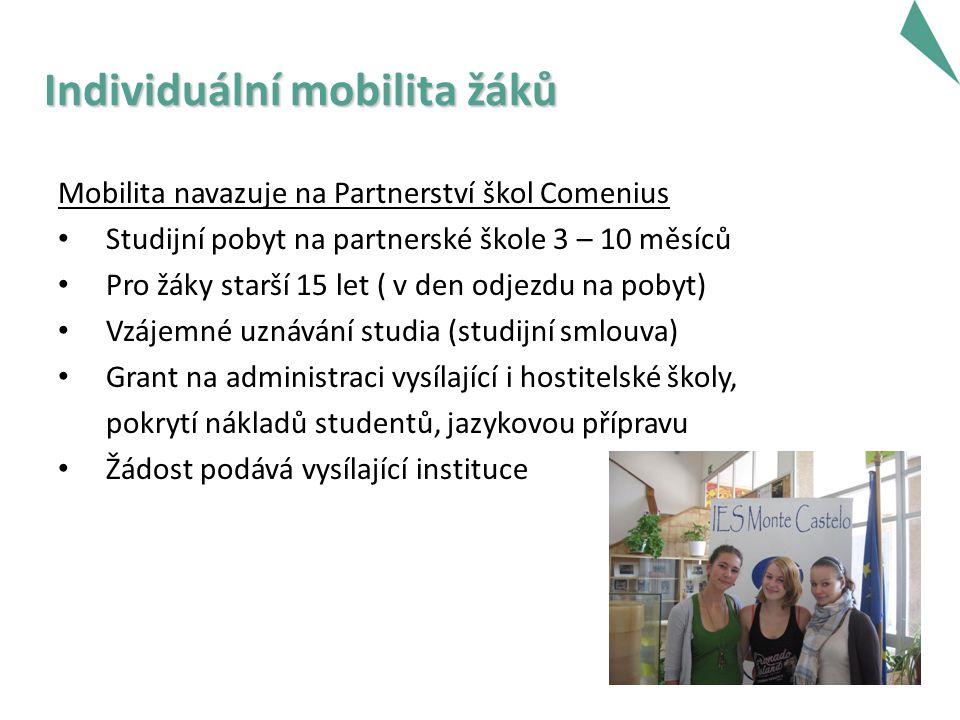 Individuální mobilita žáků Mobilita navazuje na Partnerství škol Comenius Studijní pobyt na partnerské škole 3 – 10 měsíců Pro žáky starší 15 let ( v den odjezdu na pobyt) Vzájemné uznávání studia (studijní smlouva) Grant na administraci vysílající i hostitelské školy, pokrytí nákladů studentů, jazykovou přípravu Žádost podává vysílající instituce