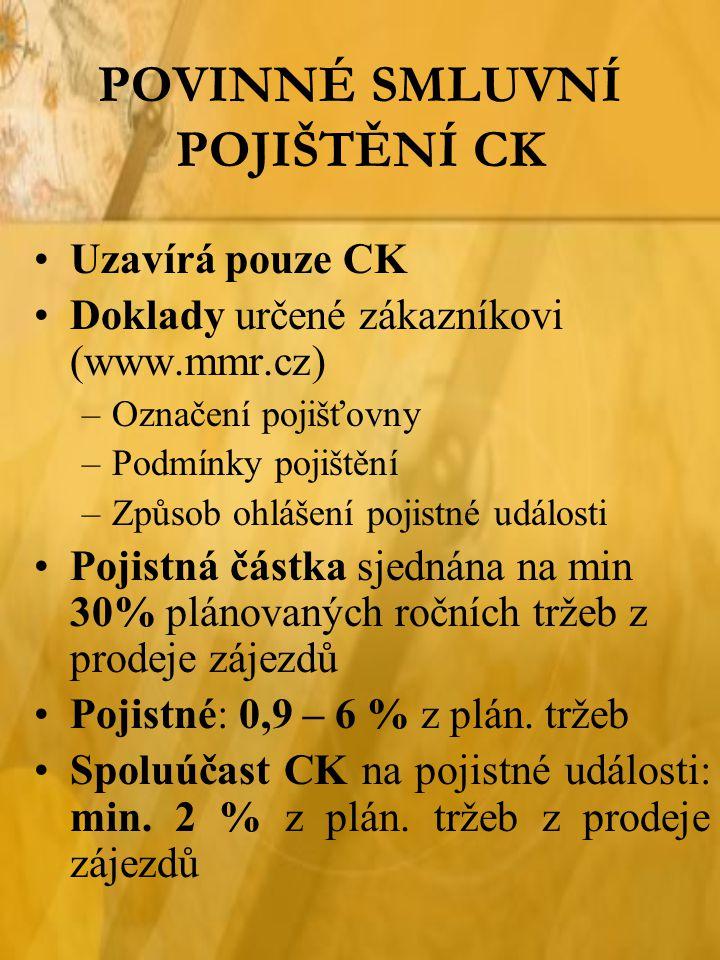 POVINNÉ SMLUVNÍ POJIŠTĚNÍ CK Uzavírá pouze CK Doklady určené zákazníkovi (www.mmr.cz) –Označení pojišťovny –Podmínky pojištění –Způsob ohlášení pojist