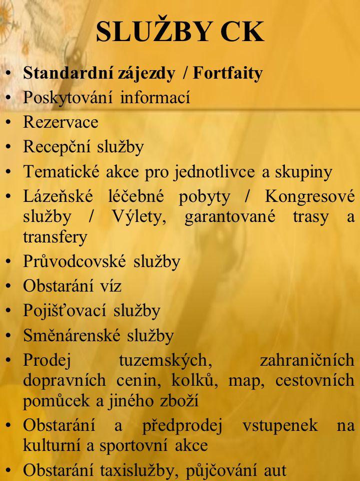 SLUŽBY CK Standardní zájezdy / Fortfaity Poskytování informací Rezervace Recepční služby Tematické akce pro jednotlivce a skupiny Lázeňské léčebné pob