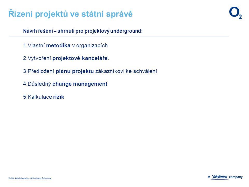 Public Administration & Business Solutions Řízení projektů ve státní správě Návrh řešení – shrnutí pro projektový underground: 1.Vlastní metodika v organizacích 2.Vytvoření projektové kanceláře.
