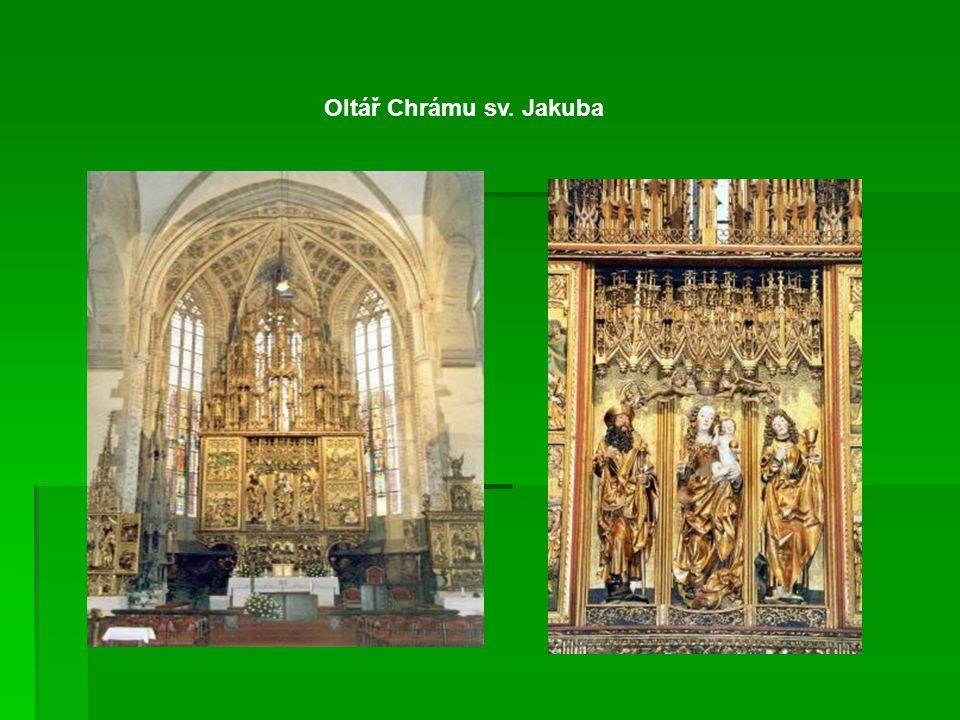 Chrám sv. Jakuba v Levoči Patří mezi největší gotické chrámy na Slovensku. Je zasvěcený sv. Jakubovi, Apoštolovi, ochránci bojovníků. Má bohatou gotic