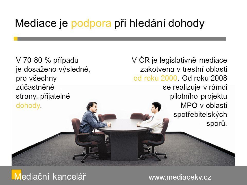 Mediace je podpora při hledání dohody Mediační kancelář www.mediacekv.cz V 70-80 % případů je dosaženo výsledné, pro všechny zúčastněné strany, přijat