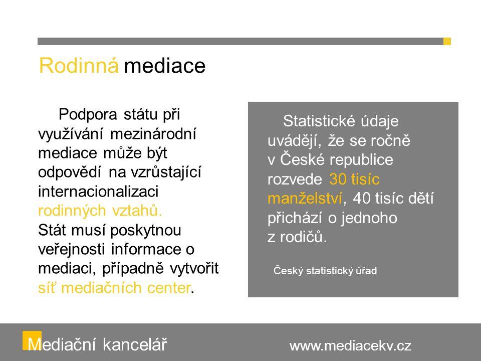 Statistické údaje uvádějí, že se ročně v České republice rozvede 30 tisíc manželství, 40 tisíc dětí přichází o jednoho z rodičů. Český statistický úřa