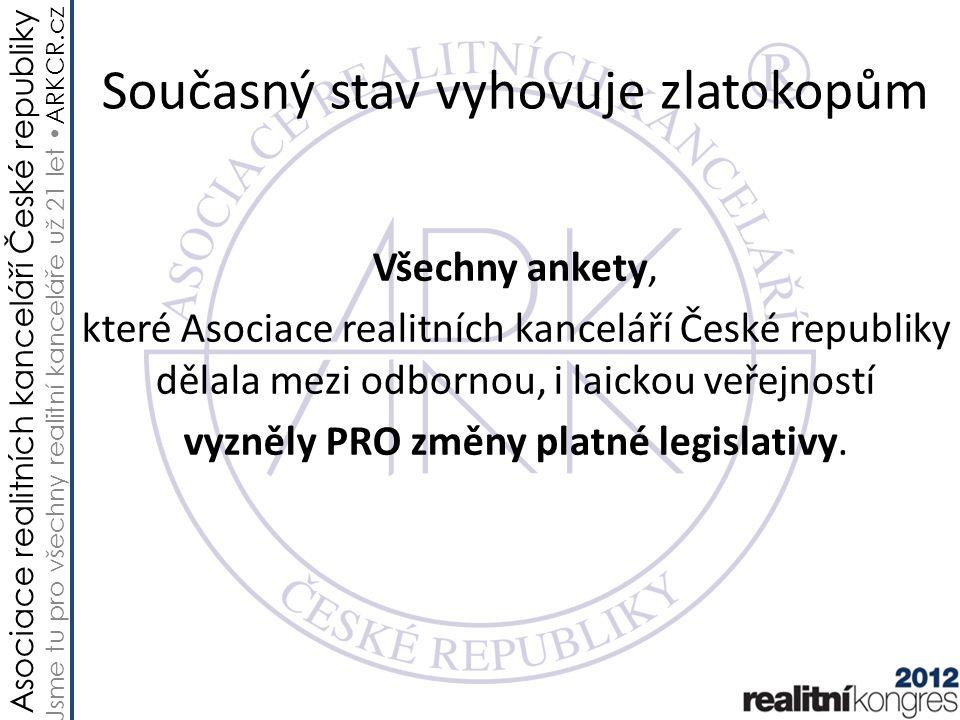 Asociace realitních kanceláří České republiky Jsme tu pro všechny realitní kanceláře už 21 let ARKCR.cz Současný stav vyhovuje zlatokopům Všechny anke