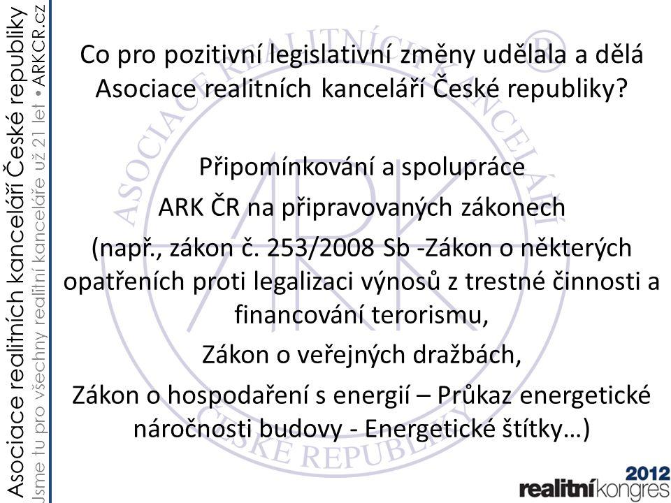 Asociace realitních kanceláří České republiky Jsme tu pro všechny realitní kanceláře už 21 let ARKCR.cz Co pro pozitivní legislativní změny udělala a dělá Asociace realitních kanceláří České republiky.