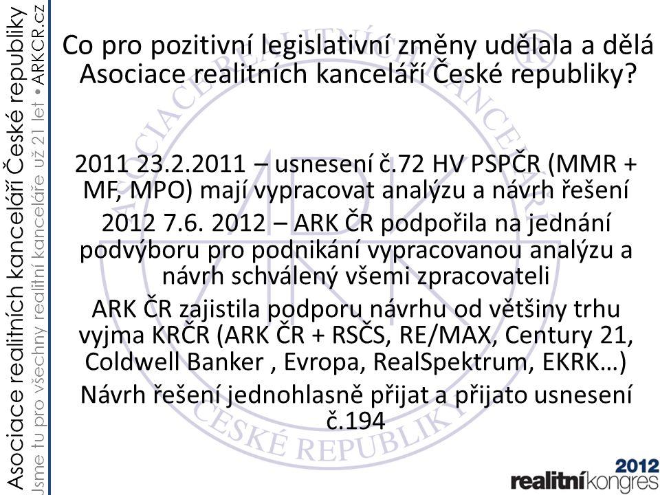 Asociace realitních kanceláří České republiky Jsme tu pro všechny realitní kanceláře už 21 let ARKCR.cz Hospodářský výbor Poslanecké sněm.