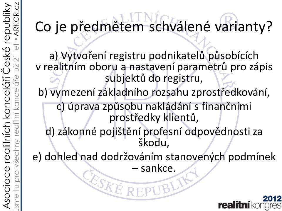 Asociace realitních kanceláří České republiky Jsme tu pro všechny realitní kanceláře už 21 let ARKCR.cz a) Vytvoření registru a zápis Základním účelem registru je ověřování podmínek nutných pro výkon profese, tedy zejména doložení odborné způsobilosti (vysokoškolské vzdělání právnického, ekonomického nebo stavebního směru nebo úplné střední vzdělání a jeden rok praxe v realitní činnosti).