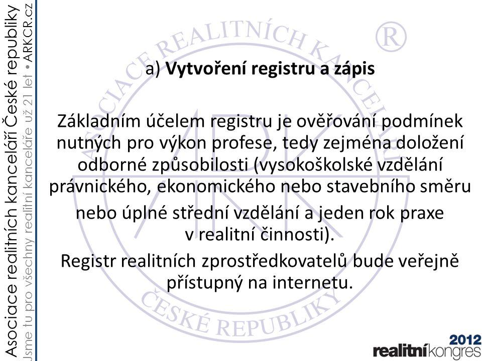 Asociace realitních kanceláří České republiky Jsme tu pro všechny realitní kanceláře už 21 let ARKCR.cz a) Vytvoření registru a zápis Základním účelem