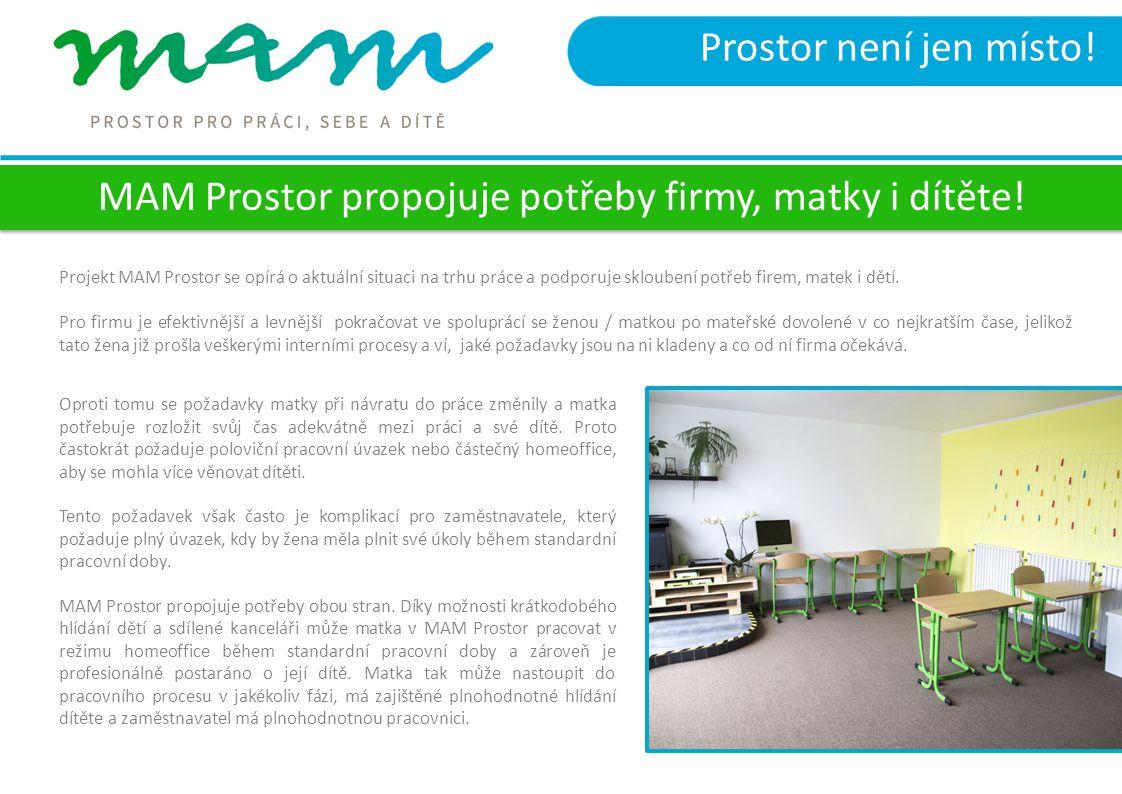 Prostor není jen místo! Projekt MAM Prostor se opírá o aktuální situaci na trhu práce a podporuje skloubení potřeb firem, matek i dětí. Pro firmu je e