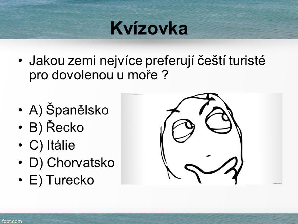 Kvízovka Jakou zemi nejvíce preferují čeští turisté pro dovolenou u moře ? A) Španělsko B) Řecko C) Itálie D) Chorvatsko E) Turecko