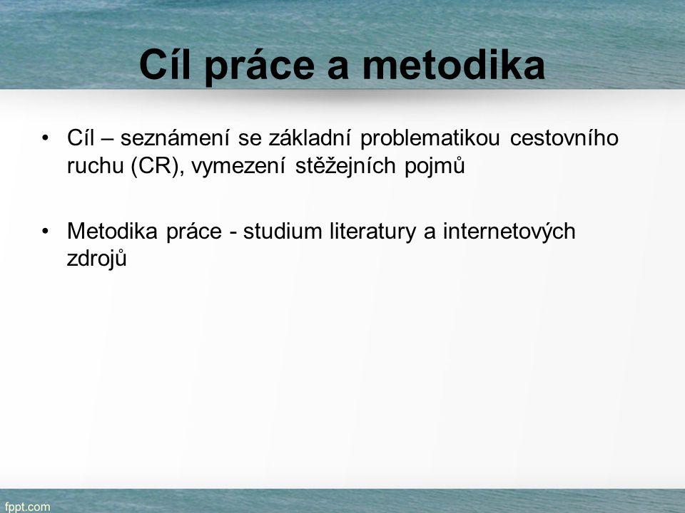 Cíl práce a metodika Cíl – seznámení se základní problematikou cestovního ruchu (CR), vymezení stěžejních pojmů Metodika práce - studium literatury a