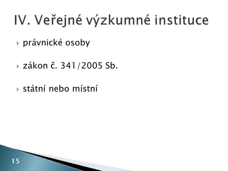  právnické osoby  zákon č. 341/2005 Sb.  státní nebo místní 15