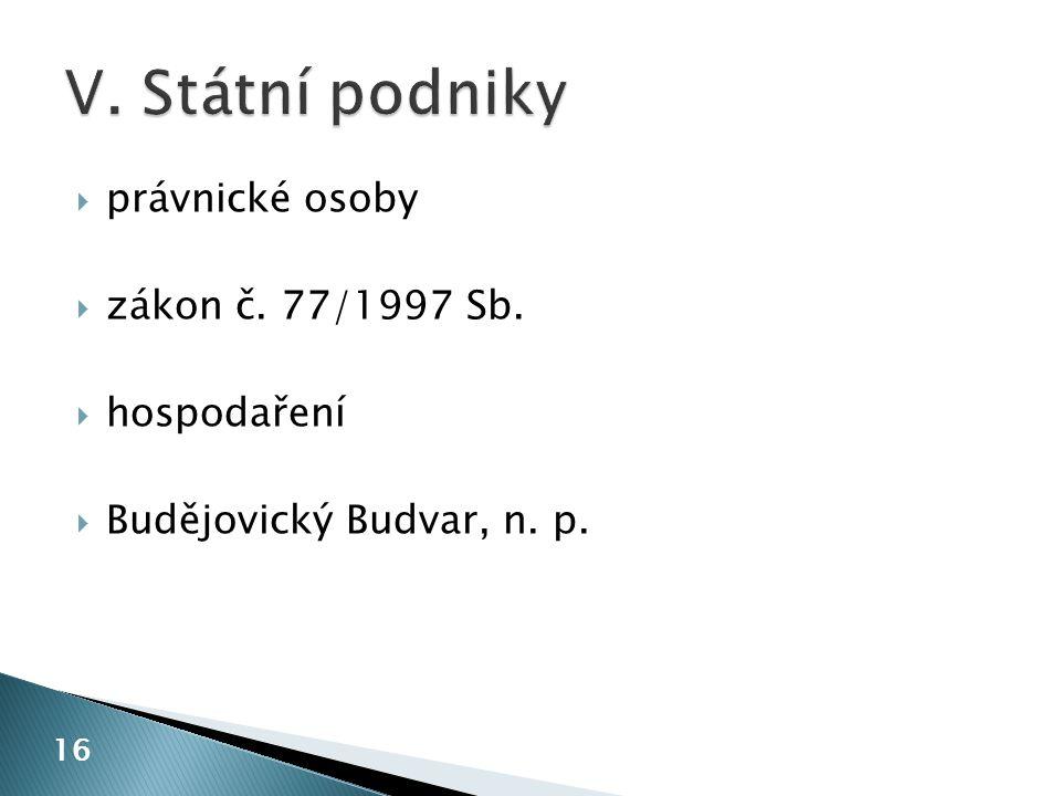 právnické osoby  zákon č. 77/1997 Sb.  hospodaření  Budějovický Budvar, n. p. 16