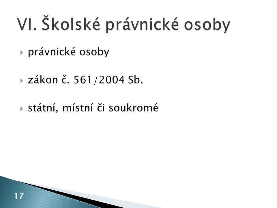  právnické osoby  zákon č. 561/2004 Sb.  státní, místní či soukromé 17