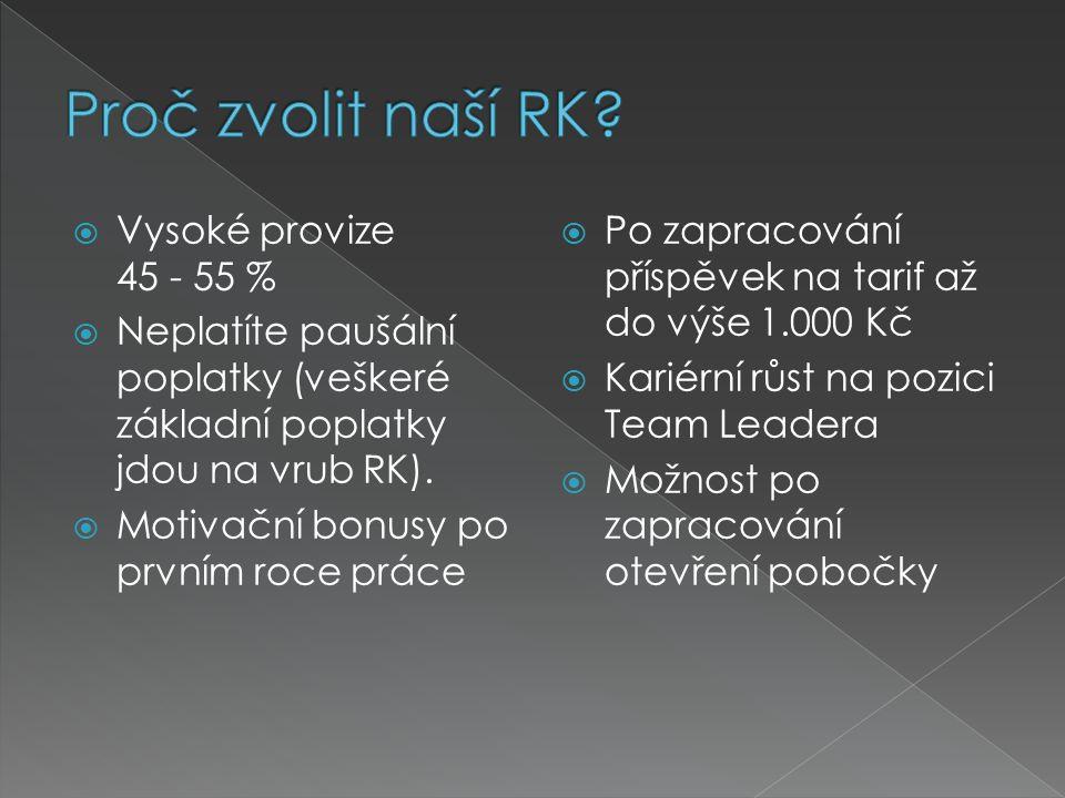  Vysoké provize 45 - 55 %  Neplatíte paušální poplatky (veškeré základní poplatky jdou na vrub RK).