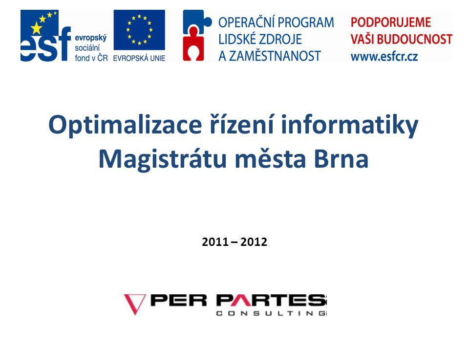 Informační strategie města Brna (2012 – 2014)  Výchozí rámec – Strategie pro Brno  Realizační tým  Použité metody – SWOT, BSC SWOT Organizace informatiky a informatické procesy Podniková architektura Přínosy informatiky pro SMB a MMB Spokojenost uživatelů Sumarizace BSC ICT přínosy ICT zákazníci ICT procesy ICT potenciál a zdroje