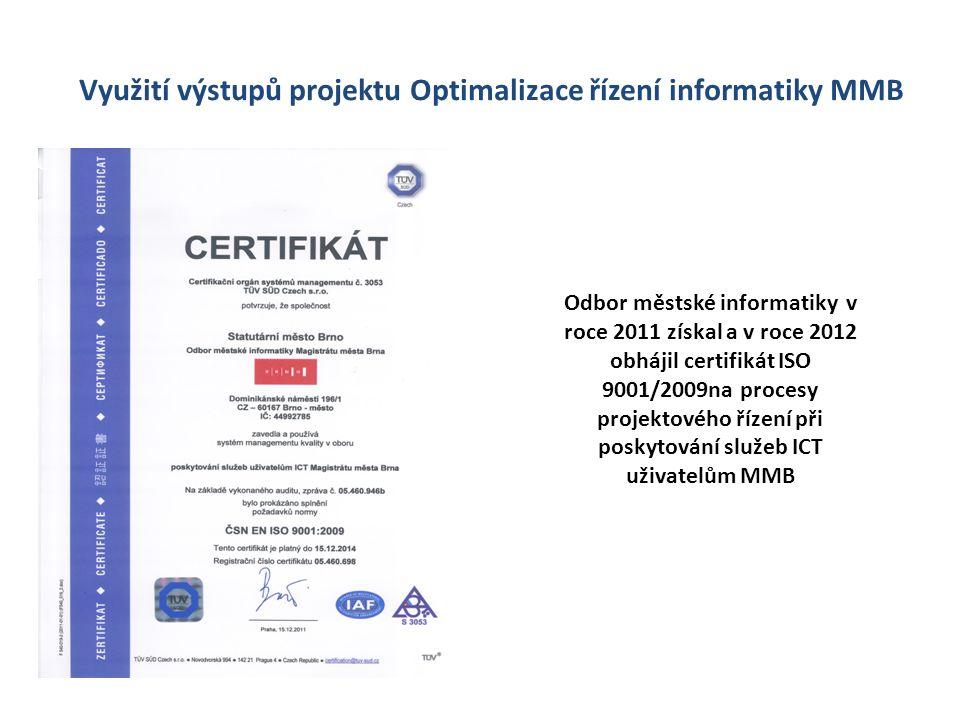 Využití výstupů projektu Optimalizace řízení informatiky MMB Odbor městské informatiky v roce 2011 získal a v roce 2012 obhájil certifikát ISO 9001/20