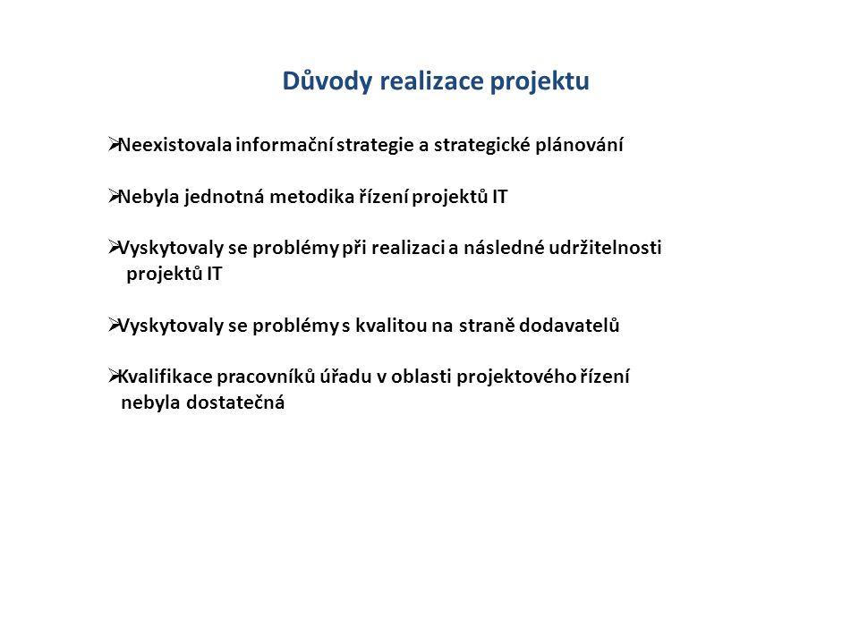 Důvody realizace projektu  Neexistovala informační strategie a strategické plánování  Nebyla jednotná metodika řízení projektů IT  Vyskytovaly se p