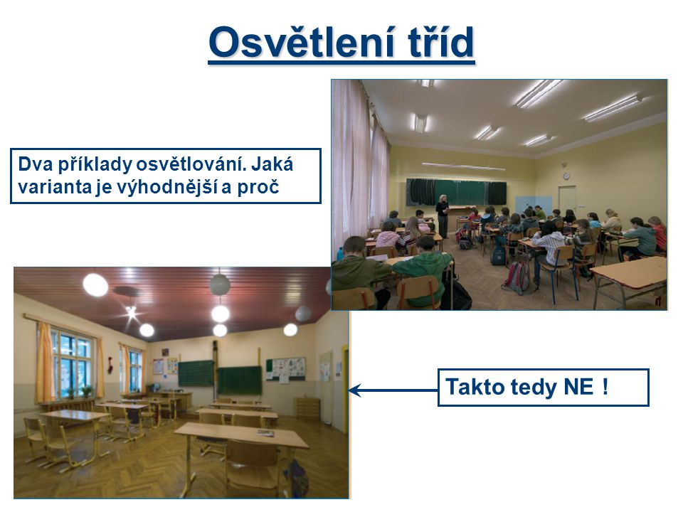Osvětlení tříd Dva příklady osvětlování. Jaká varianta je výhodnější a proč Takto tedy NE !