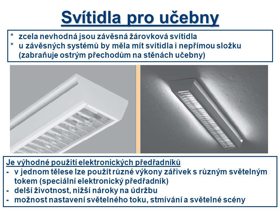 Svítidla pro učebny *zcela nevhodná jsou závěsná žárovková svítidla *u závěsných systémů by měla mít svítidla i nepřímou složku (zabraňuje ostrým přec