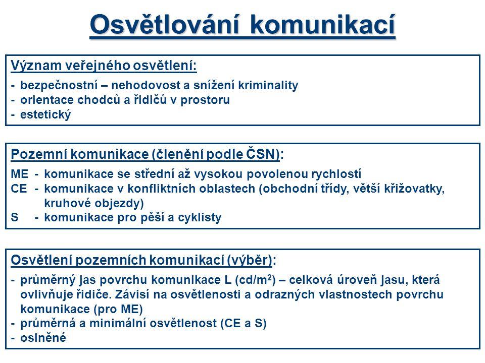 Osvětlování komunikací Pozemní komunikace (členění podle ČSN): ME-komunikace se střední až vysokou povolenou rychlostí CE-komunikace v konfliktních ob