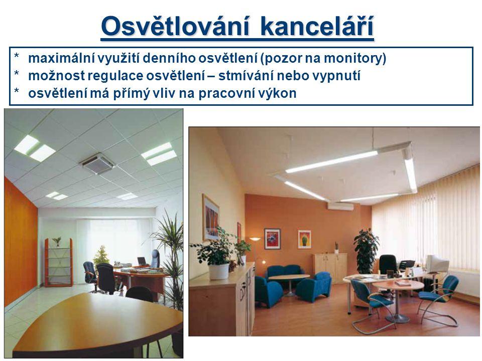 *maximální využití denního osvětlení (pozor na monitory) *možnost regulace osvětlení – stmívání nebo vypnutí *osvětlení má přímý vliv na pracovní výko