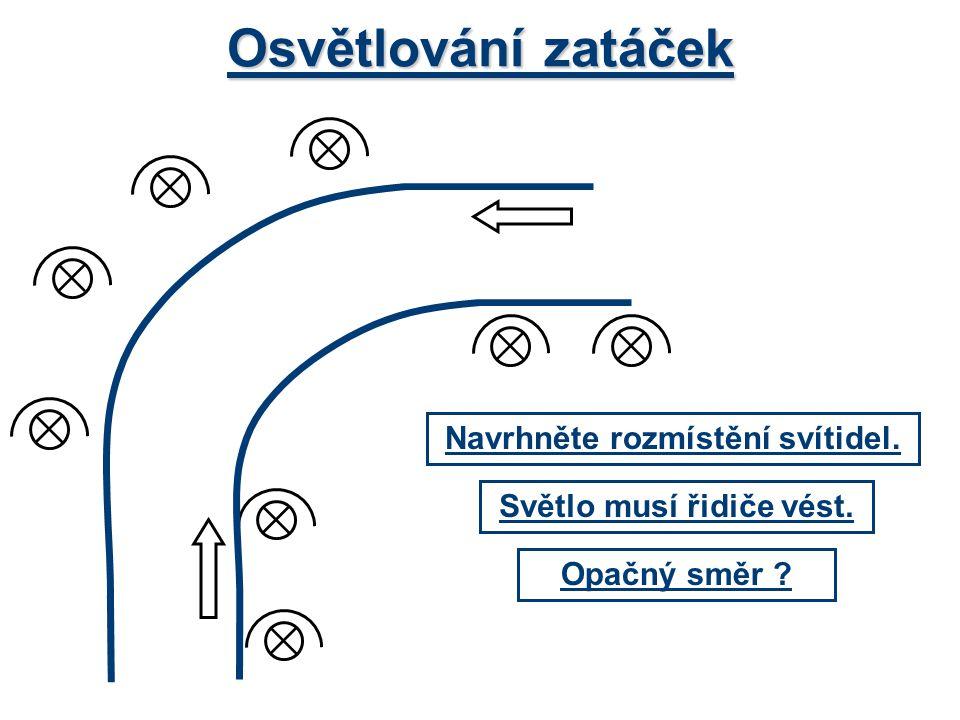 Osvětlování zatáček Světlo musí řidiče vést. Navrhněte rozmístění svítidel. Opačný směr ?