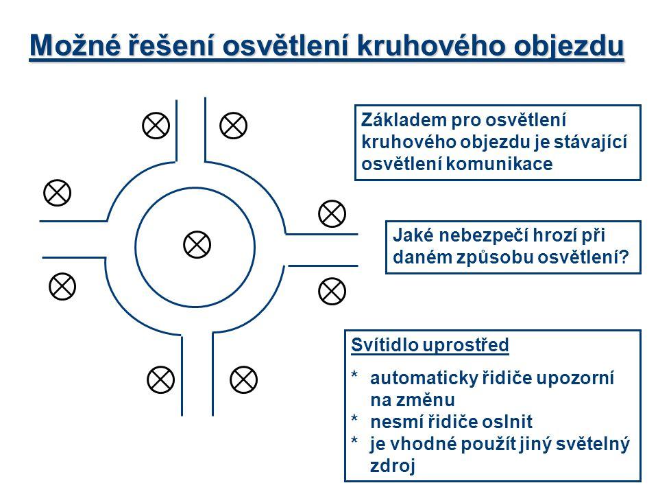 Možné řešení osvětlení kruhového objezdu Svítidlo uprostřed *automaticky řidiče upozorní na změnu *nesmí řidiče oslnit *je vhodné použít jiný světelný
