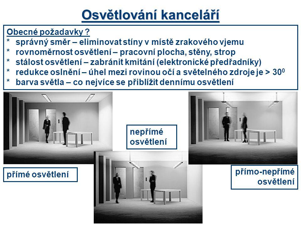 Obecné požadavky ? *správný směr – eliminovat stíny v místě zrakového vjemu *rovnoměrnost osvětlení – pracovní plocha, stěny, strop *stálost osvětlení