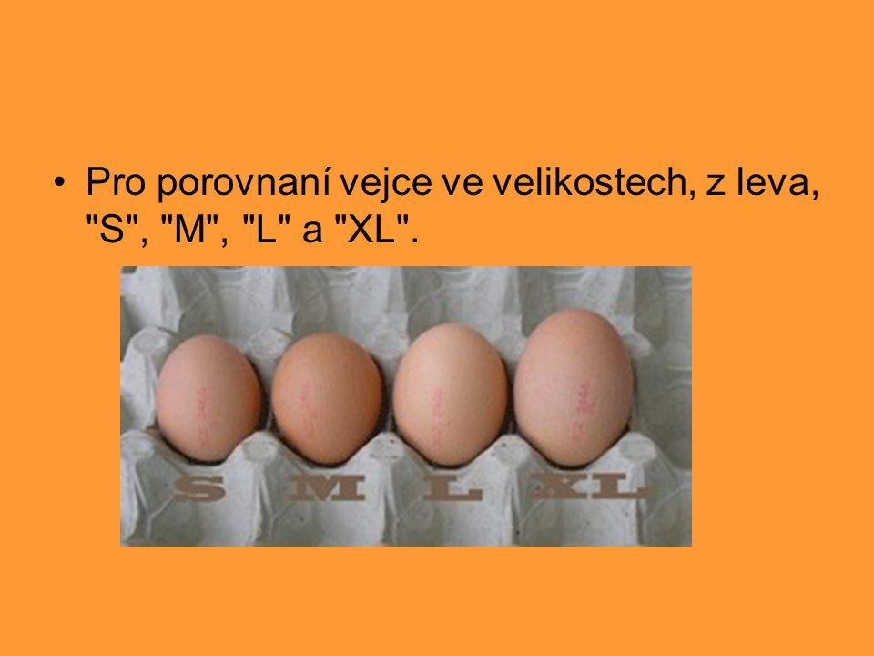 Pro porovnaní vejce ve velikostech, z leva, S , M , L a XL .