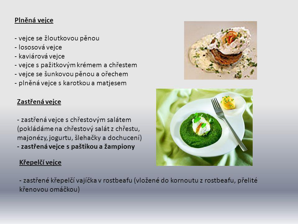 Plněná vejce - vejce se žloutkovou pěnou - lososová vejce - kaviárová vejce - vejce s pažitkovým krémem a chřestem - vejce se šunkovou pěnou a ořechem