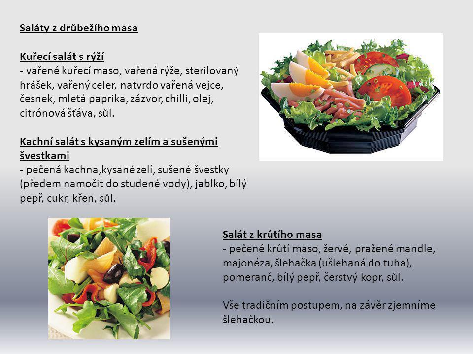 Rybí saláty Námořnický salát - směs marinovaných ryb (matjes, makrela, sleď, tuňák), ostrý kečup, sterilované cibulky, sterilované okurky, olivový olej, hořčice, kořenící směs na ryby, sůl.