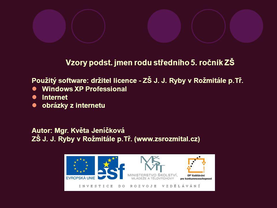 Vzory podst.jmen rodu středního 5. ročník ZŠ Použitý software: držitel licence - ZŠ J.