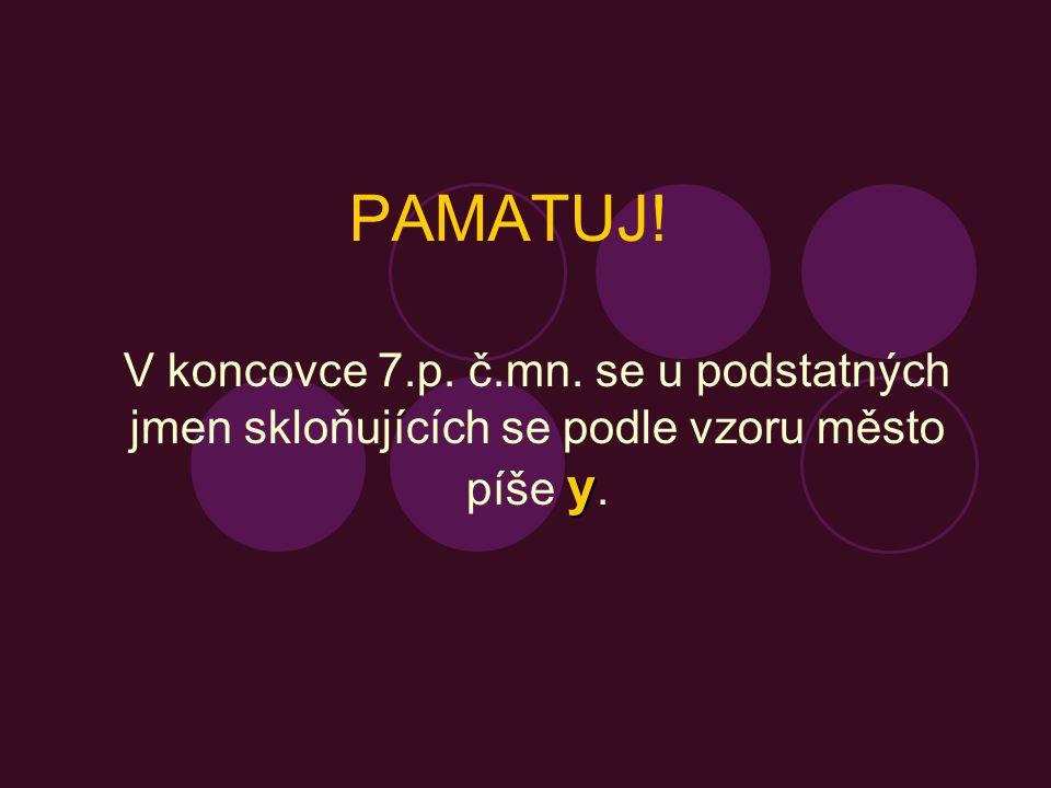 Doplň koncovky podstatných jmen, která se skloňují podle vzoru město: s českými divadl_, řídit se moudrým_ slovy, píchnutí žihadl_, s krátkými švihadl_, mezi kol_, vzácnými zrcadl_, mýt se mýdl_, po rozvodněném Lab_, vitamíny v ovoc_, opalovat se na slunc_