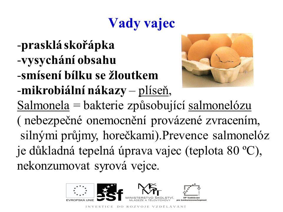 Konzervace vajec a vaječné výrobky - pokračování Zmražená vaječná hmota = směs bílků a žloutků konzervovaná zmrazením. Po rozmrazení se využívá podobn