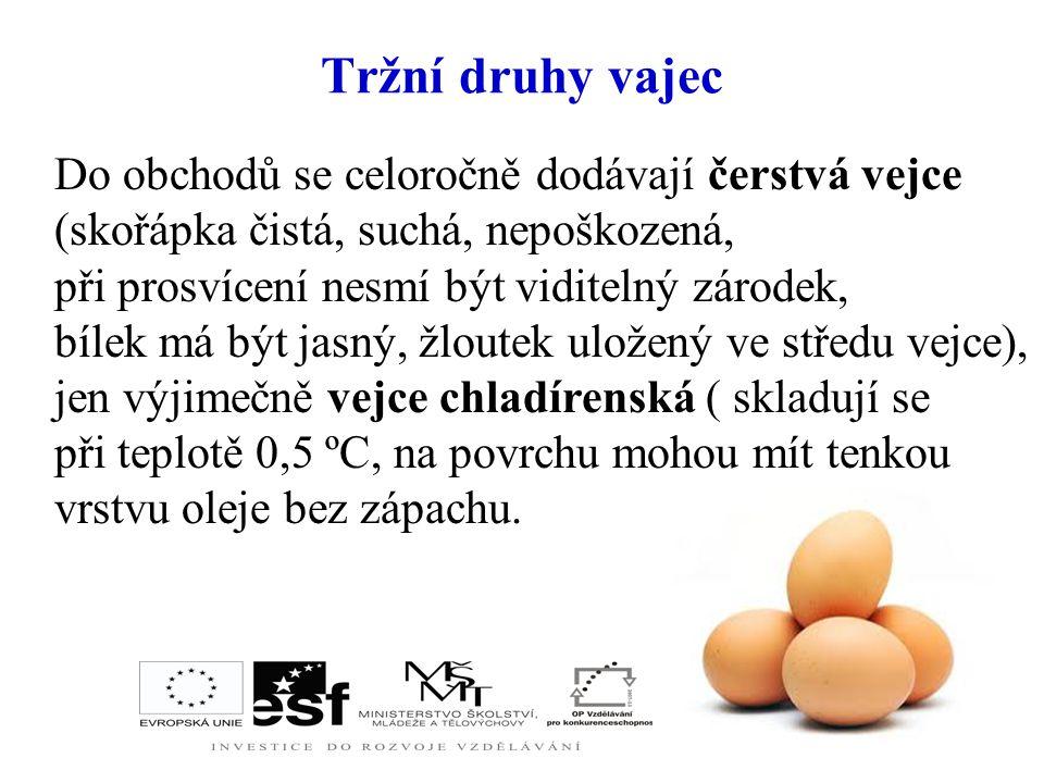 Složení vajec: - plnohodnotné bílkoviny - tuky ( cholesterol → ucpávání cév → civilizační choroby) - sacharidy - minerální látky - P, Ca, Fe, Mg, S, N