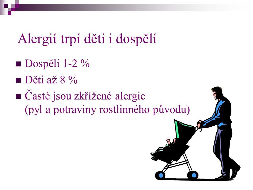Alergií trpí děti i dospělí Dospělí 1-2 % Děti až 8 % Časté jsou zkřížené alergie (pyl a potraviny rostlinného původu)