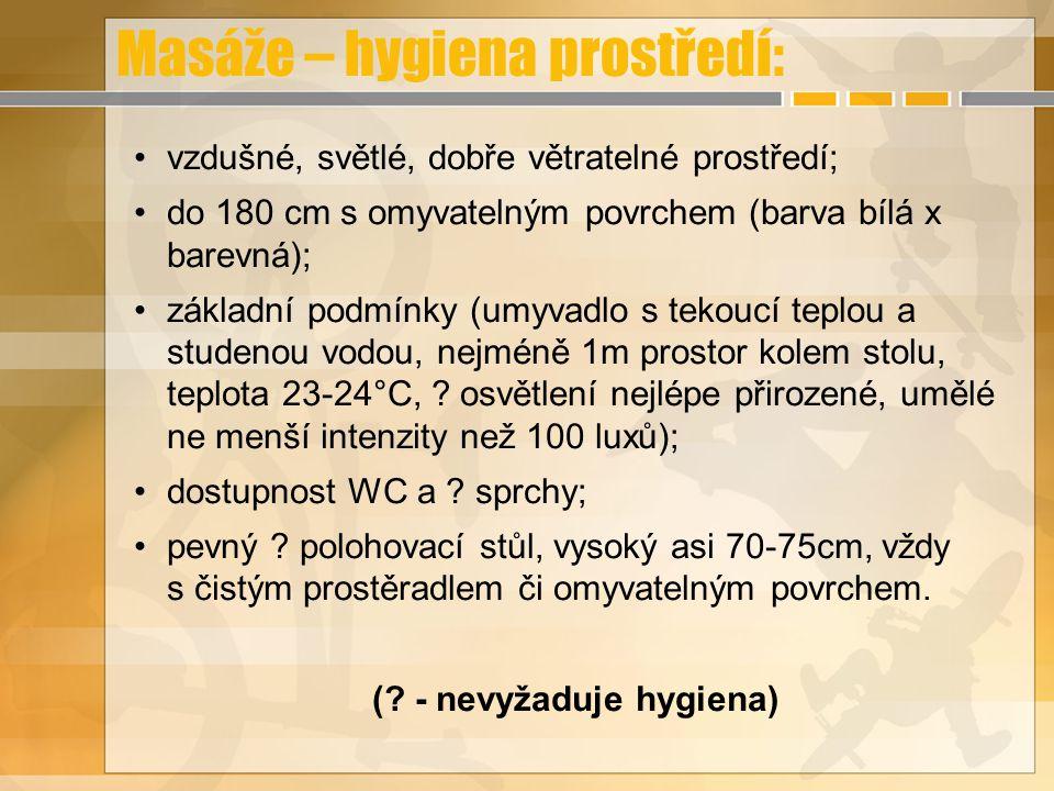 Masáže – hygiena prostředí: vzdušné, světlé, dobře větratelné prostředí; do 180 cm s omyvatelným povrchem (barva bílá x barevná); základní podmínky (u