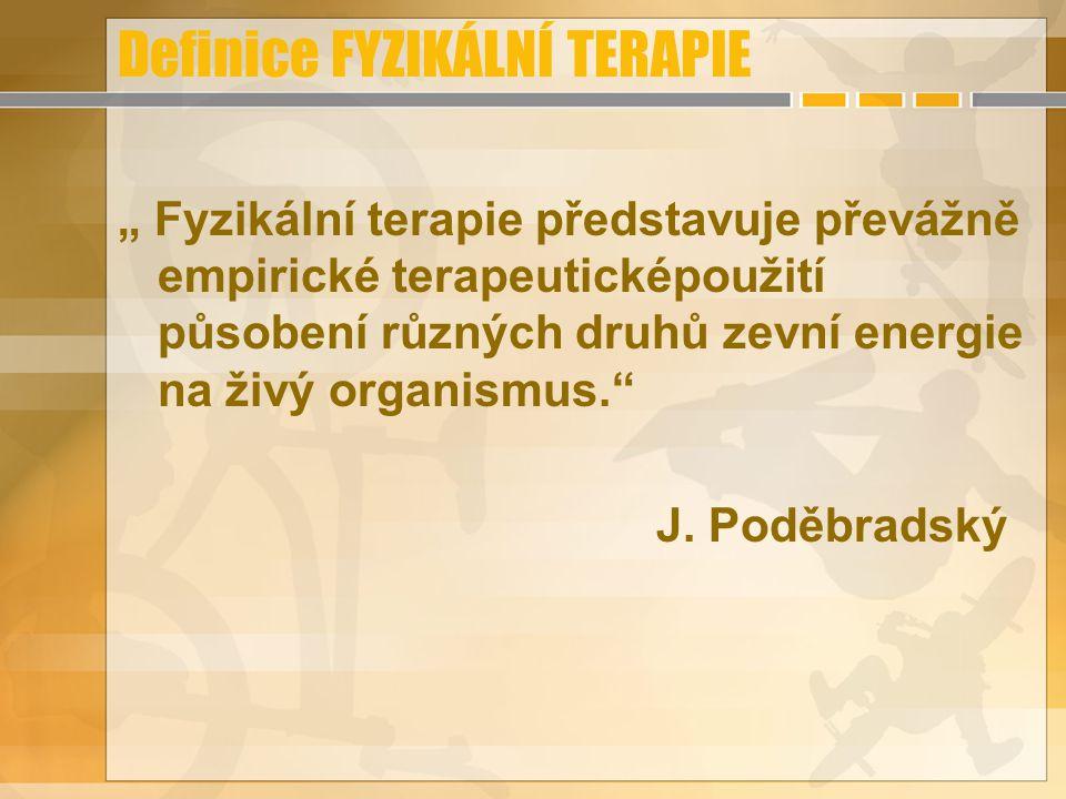 Dělení FYZIKÁLNÍ TERAPIE Dle Poděbradského: mechanoterapie; termoterapie; fototerapie; elektroterapie; magnetoterapie; hydroterapie; komb.