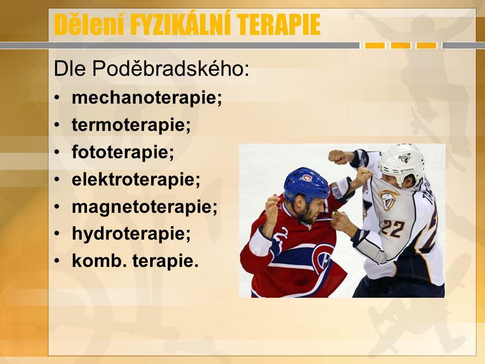Dělení FYZIKÁLNÍ TERAPIE Dle Poděbradského: mechanoterapie; termoterapie; fototerapie; elektroterapie; magnetoterapie; hydroterapie; komb. terapie.