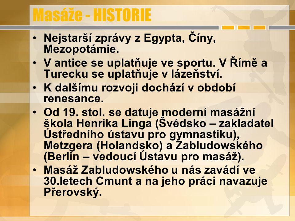 Masáže - HISTORIE Nejstarší zprávy z Egypta, Číny, Mezopotámie. V antice se uplatňuje ve sportu. V Římě a Turecku se uplatňuje v lázeňství. K dalšímu