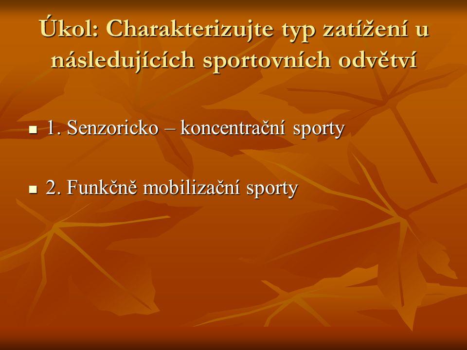 Úkol: Charakterizujte typ zatížení u následujících sportovních odvětví 1.