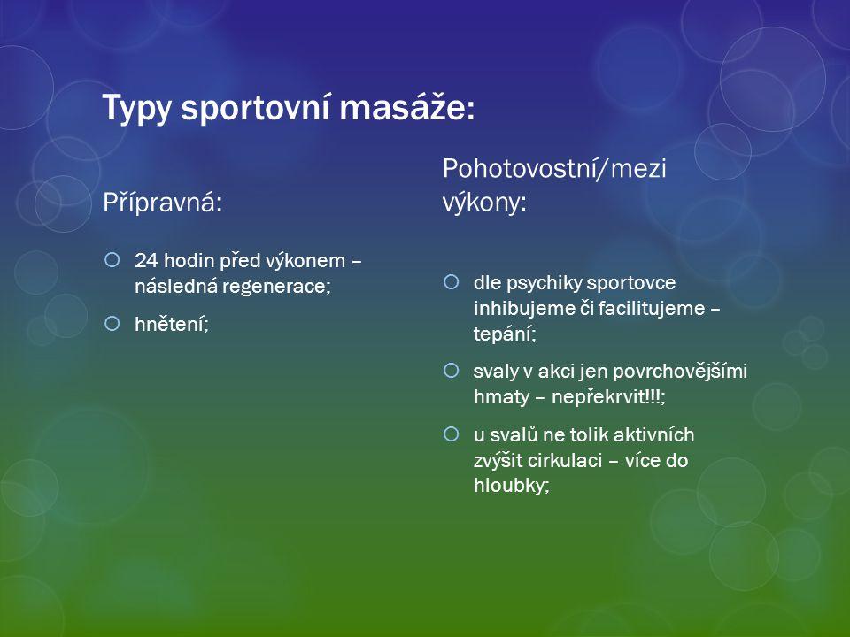 Typy sportovní masáže: Přípravná:  24 hodin před výkonem – následná regenerace;  hnětení; Pohotovostní/mezi výkony:  dle psychiky sportovce inhibuj