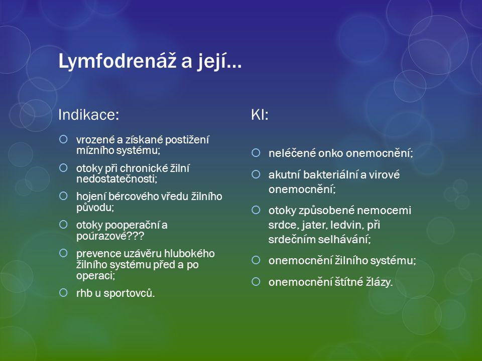 Lymfodrenáž a její… Indikace:  vrozené a získané postižení mízního systému;  otoky při chronické žilní nedostatečnosti;  hojení bércového vředu žil