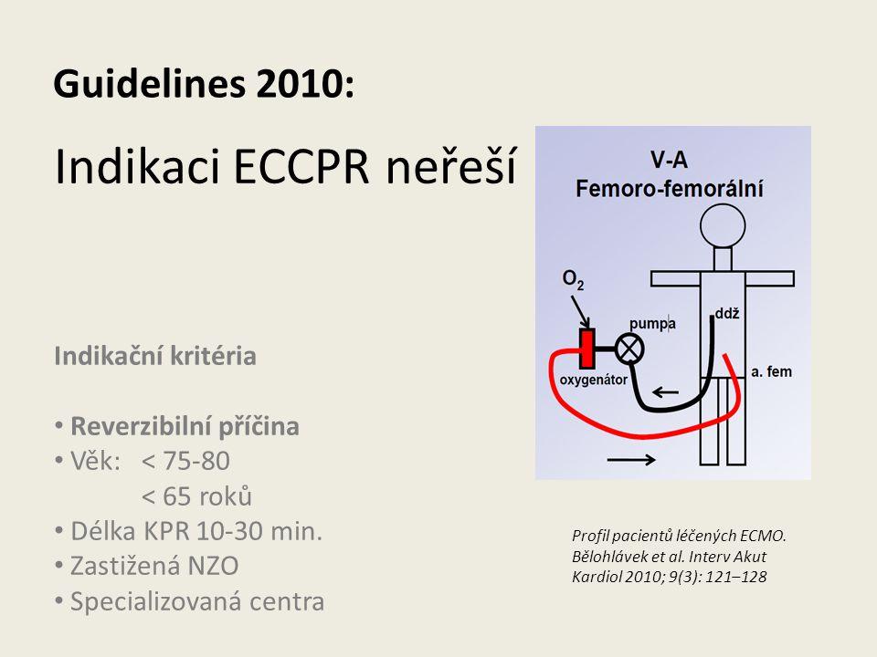 Guidelines 2010: Indikaci ECCPR neřeší Indikační kritéria Reverzibilní příčina Věk:< 75-80 < 65 roků Délka KPR 10-30 min. Zastižená NZO Specializovaná