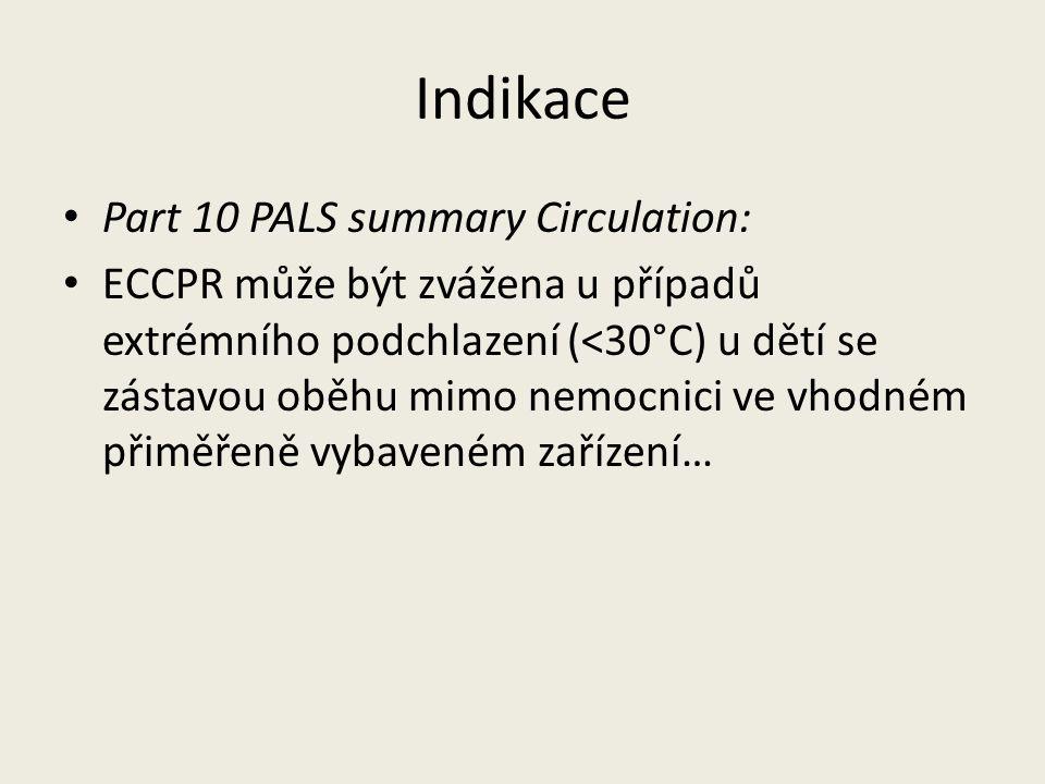 Indikace Part 10 PALS summary Circulation: ECCPR může být zvážena u případů extrémního podchlazení (<30°C) u dětí se zástavou oběhu mimo nemocnici ve